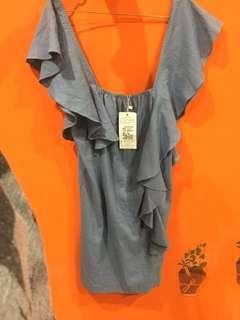 🚚 全新淺藍荷葉造型袖洋裝