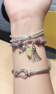 天然紫龍晶算盤珠s925純銀手鏈 天然蜜蠟純銀流蘇