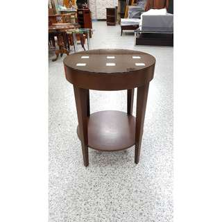 香榭二手家具*時尚現代風 胡桃圓形邊几(附玻璃)-小茶几-邊桌-矮桌-休閒桌-客廳桌-沙發桌-咖啡桌-木桌-和室桌-2手