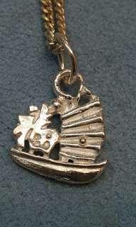 16吋 意大利 925 silver sterling 純鍊 精緻 小帆船 頸鍊(see settlement location frist)