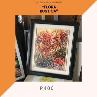 """Mixed Media Painting - """"Flora Rustica"""" (ready to hang)"""