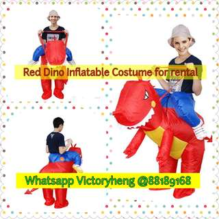 Red Dino Riding inflatable costume for rental