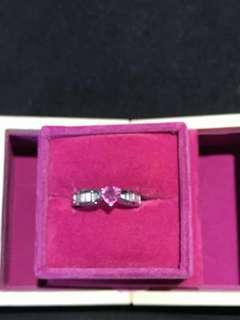 粉紅寶石加方型鑽石介指