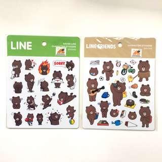 港版 Line Friends 熊大 貼紙 全2款 包郵