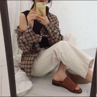 🚚 韓系小格子襯衫(全新)