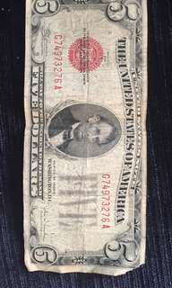 5 dollar bill from 1928 - red seal
