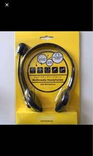 Multimedia headphones with microphone