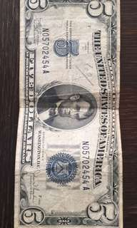1934 5 dollar bill - blue seal