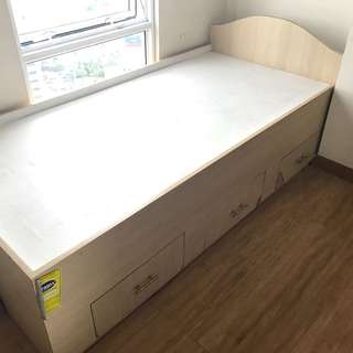 Single Size Custom Made Bed with 3 Drawers