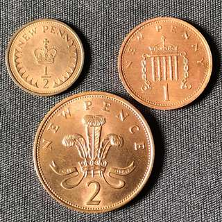 GB 1975/76 1/2, 1, 2 New Penny