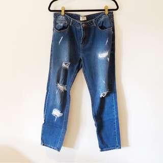 Cotton On Boyfriend Jeans in Distressed Dark Wash
