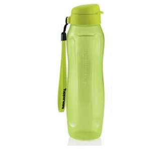 Tupperware Slim Eco Bottle (1) 1L with Strap - Green