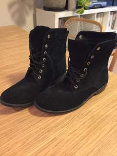 Custom made black suede boots