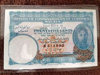 Malaya 25 Cent Note
