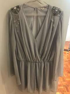 Miss Selfridge chiffon dress with silver embellishments