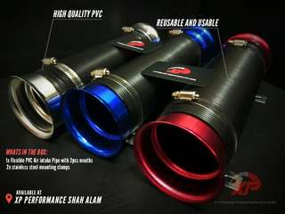 COLD AIR INTAKE FELXIBLE air filter universal Red Color