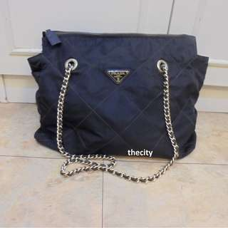 AUTHENTIC PRADA LARGE CHAIN SHOULDER BAG - BLACK