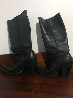Custom made black cowboy boots