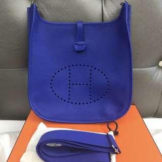 Hermes Evelyne GM 3 Blue Electric