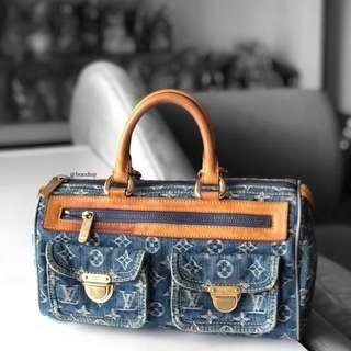 Authentic Louis Vuitton Denim Blue Neo Speedy LV