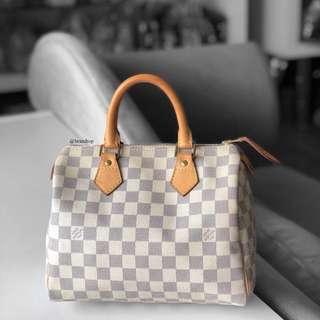Authentic Louis Vuitton Damier Azur Speedy 25 LV