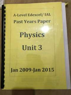 A Level Edexcel / IAL Past years paper physics