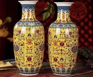 中式婚禮花樽 瓦花瓶 黃色 結婚 喜宴佈置