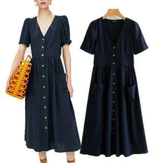 Navy blue button down dress
