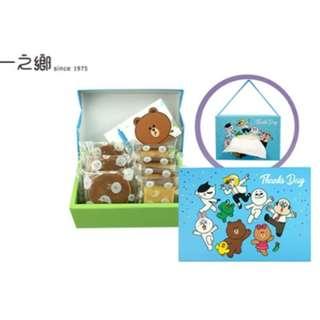 一之鄉-LINE FRIENDS 樂遊趣禮盒-龍眼花蜜蜂蜜蛋糕單片裝x4、三笠燒x3/盒