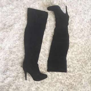Thigh High Suede Boots - Size 37