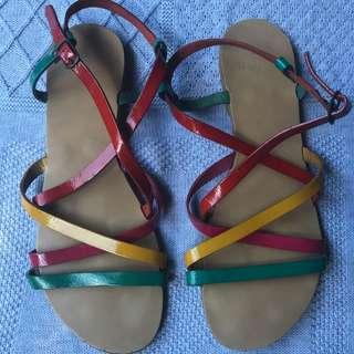 Italian Leather bright strap flats