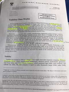 Harvard business school Toshiba: ome works case study