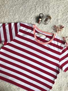 Red Stripes Ringer Tee