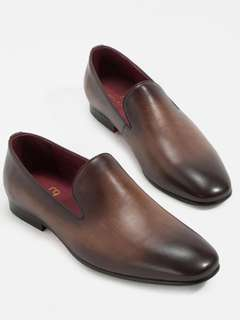 Men leather shoes leather loafer patina hand paint in brown