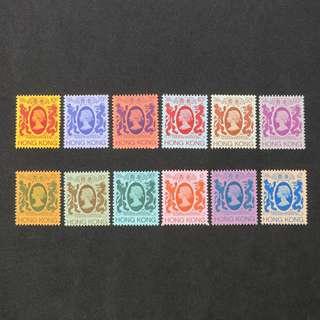 (MNH, 原背膠)  1982年發行香港通用郵票全小套共12枚