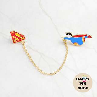 Funny Superman & S-shield chain pin - Plump Superhero series