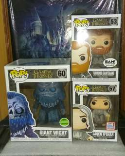 "[PRE-ORDER] Giant Wight 6"", Tormund Giantsbane Snowy & Jaqen H'Ghar Game of Thrones Funko Pop Bundle"