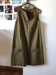 Cue dress linen cotton buttons khaki military size au 8