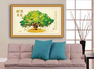 BN Partial Diamond Painting Kit Fortune Money Tree (89x53cm) 局部钻发财摇钱树钻石画