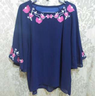 Blouse navy bordir