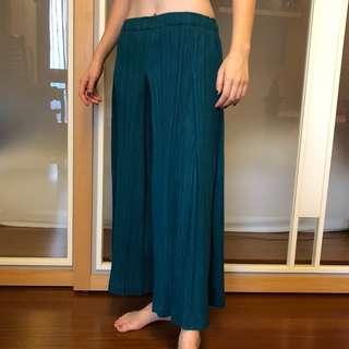 全新 三宅一生 ISSEY MIYAKE PLEATS PLEAS PP 深藍綠色 皺摺 寬褲 女生 2號