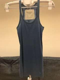 夏天小可愛/背心區-一件50三件100/A&F削肩羅紋寶藍