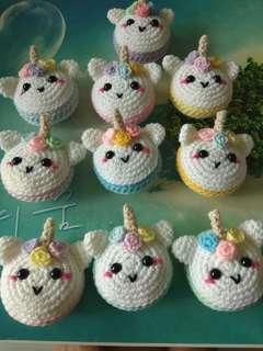 Crochet macaron unicorn keychains