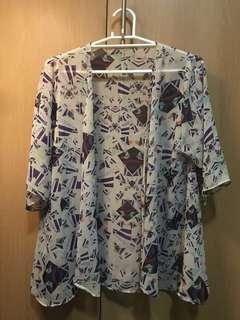 Sheer Open Front Kimono