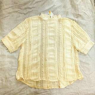 🚚 米色彈性蕾絲上衣(全新未剪標)