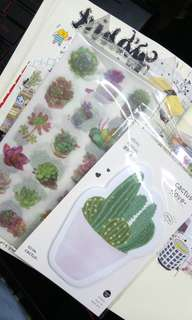 [SET] plant theme stickers and stickynote 🌵🌿🌸🌼