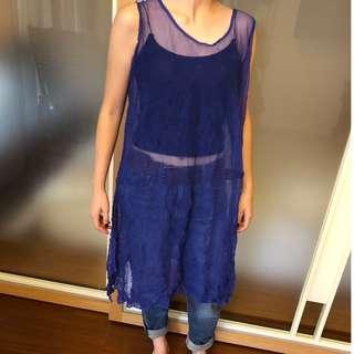 全新 三宅一生 ISSEY MIYAKE me 藍色 抓皺 皺摺 洋裝 長版罩衫 女生
