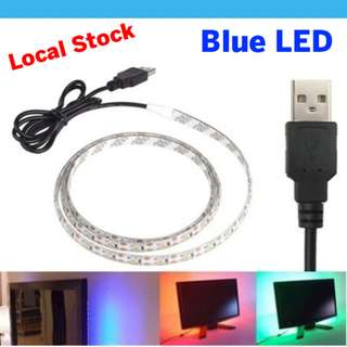 🚚 Blue LED USB Light Strip 1M Tape TV Background Lighting DIY Decorative Lamp Camping Lights Bicycle