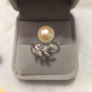 天然淡水珍珠s925鋯石葉戒指