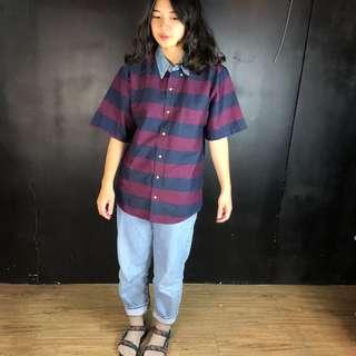 🚚 古著紫+藍色橫條紋牛仔拼色短袖襯衫